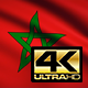 Flag 4K Morocco On Realistic Looping Animation With Highly Detailed Fabric