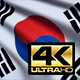 Flag 4K South Korea On Realistic Looping Animation With Highly Detailed Fabric