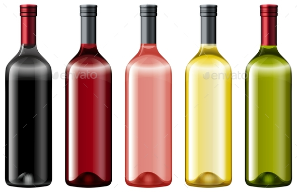 Diiferent Colors of Glass Bottles - Food Objects
