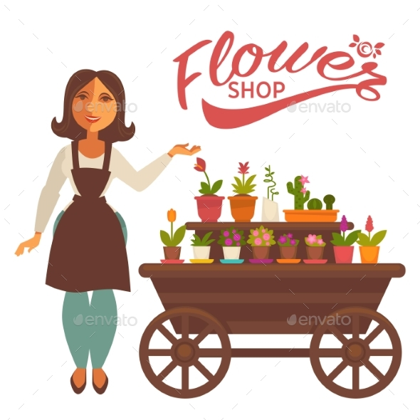 Cheerful Woman Near Wagon with Flowers - Flowers & Plants Nature
