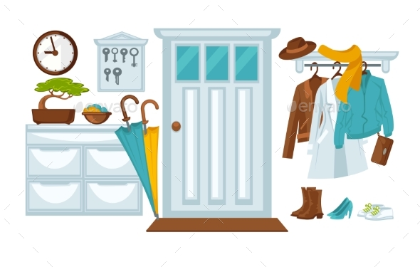 Hallway with the Jackets and Accessories - Objects Vectors