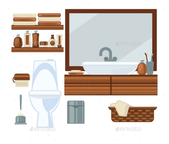 Toilet and Sink in Bathroom - Objects Vectors