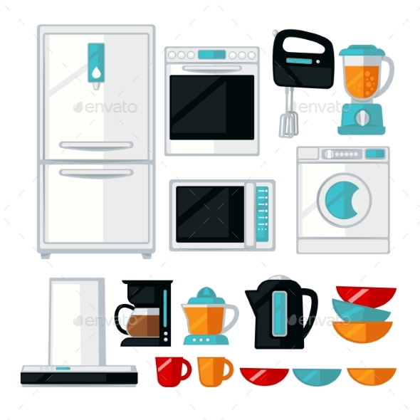 Kitchenware and Kitchen Equipment Assortment - Objects Vectors