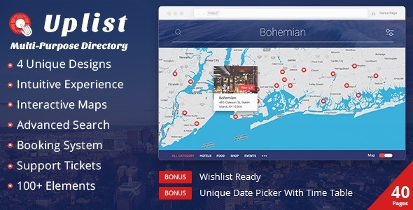 Uplist - Multipurpose Directory and Booking Template with E-Commerce