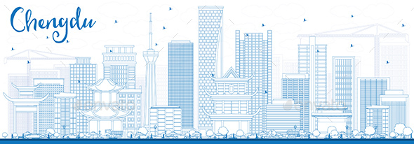 Outline Chengdu Skyline with Blue Buildings. - Buildings Objects