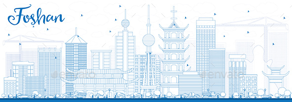 Outline Foshan Skyline with Blue Buildings. - Buildings Objects