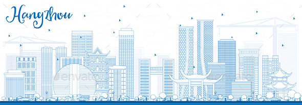 Outline Hangzhou Skyline with Blue Buildings. - Buildings Objects