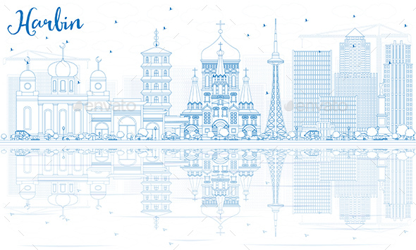 Outline Harbin Skyline with Blue Buildings and Reflections. - Buildings Objects