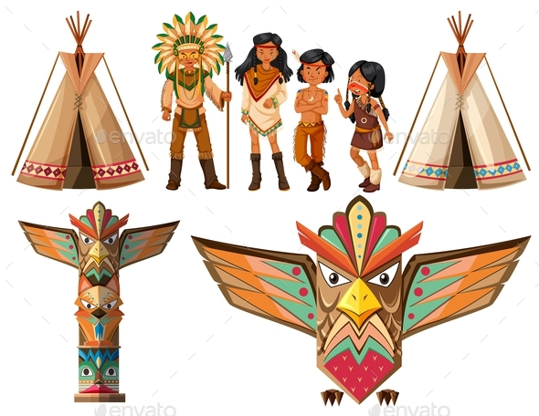 Native American Indians and Tepee - People Characters
