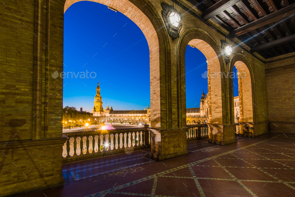 Plaza De Espana in Sevilla,Spain - Stock Photo - Images