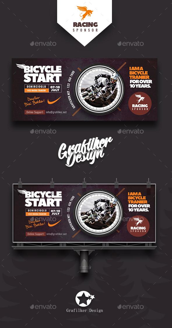 Bicycle Racing Billboard Templates - Signage Print Templates