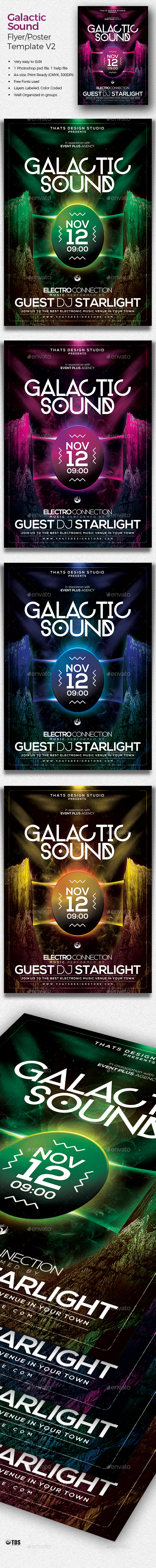 Galactic Sound Flyer Template V2 - Clubs & Parties Events