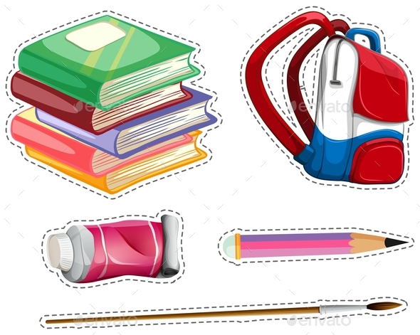 Sticker Set with School Equipment - Man-made Objects Objects