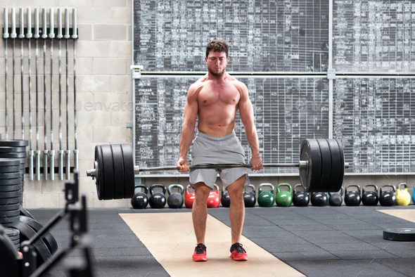 Crossfit athlete doing a deadlift - Stock Photo - Images