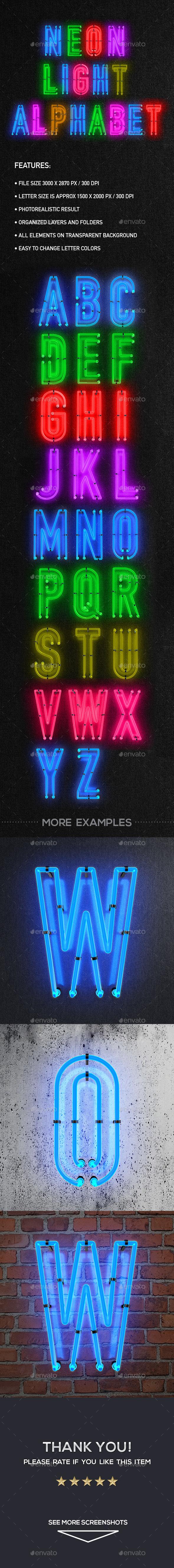 Neon Light Alphabet - Decorative Symbols Decorative