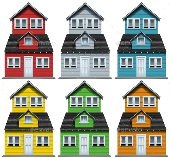 House with Six Different Colors - Buildings Objects