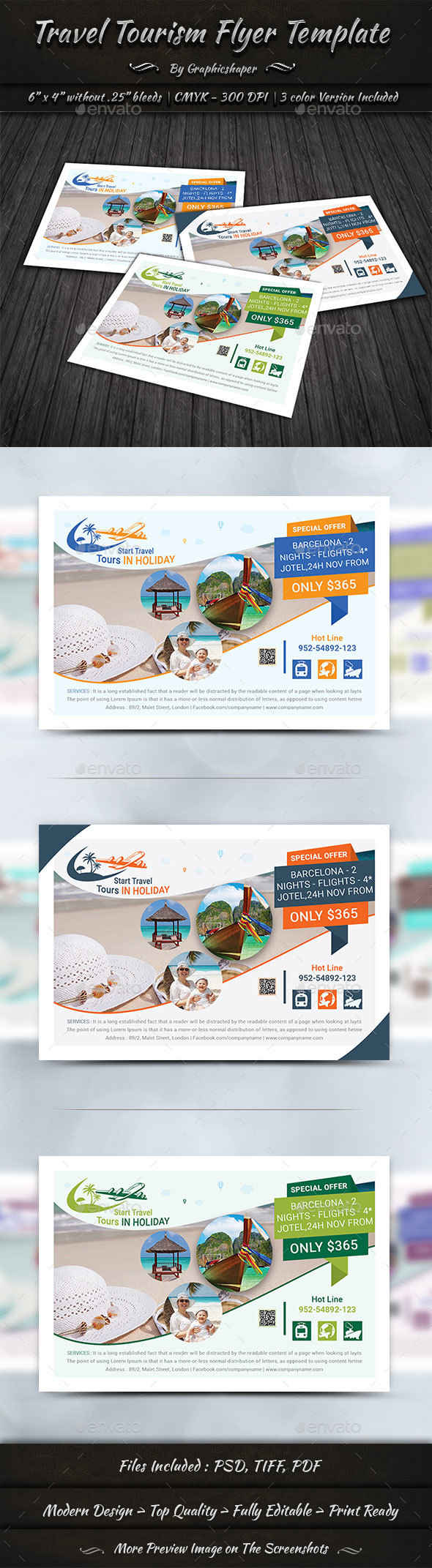 6x4 Travel Tourism Flyer Template - Holidays Events