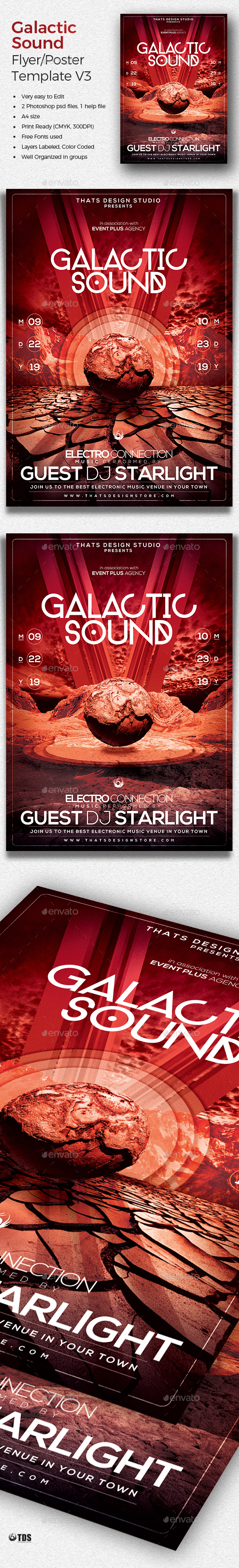 Galactic Sound Flyer Template V3 - Clubs & Parties Events