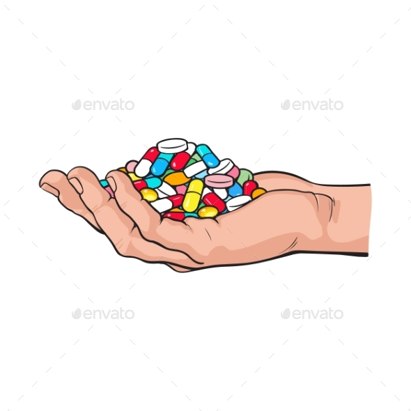 Side View Hand Holding Pile of Pills - Health/Medicine Conceptual