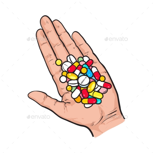 Hand Holding Pile of Colorful Pills - Health/Medicine Conceptual