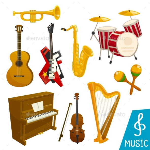 Musical Instruments Vector Isolated Icons - Objects Vectors