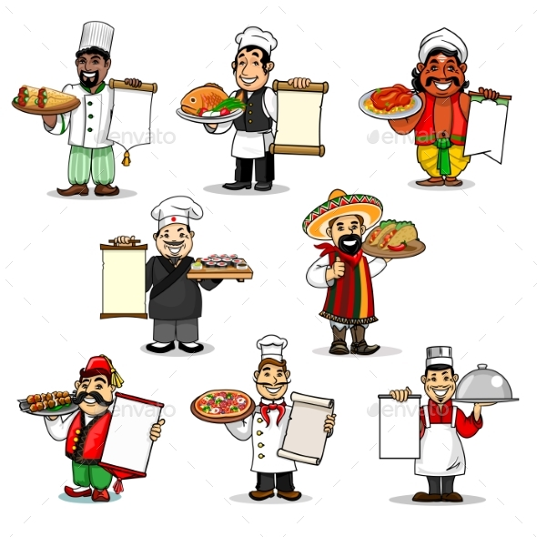 Chefs Vector Icons and Restaurant Menu - People Characters