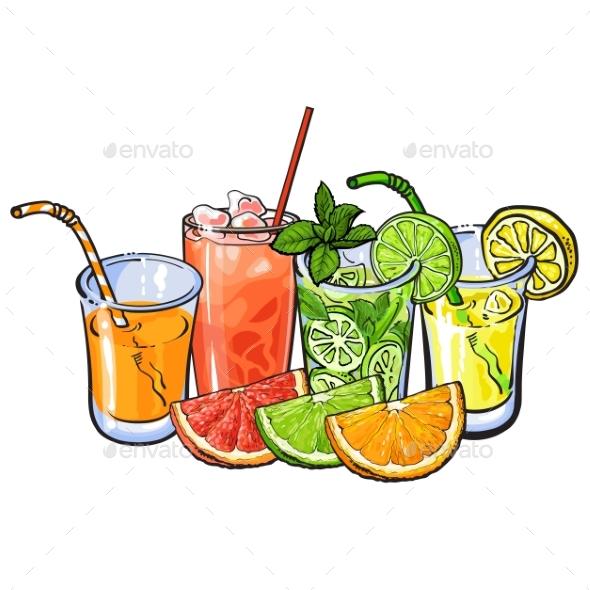 Orange, Grapefruit, Lime, Lemon Juice and Fruit - Food Objects