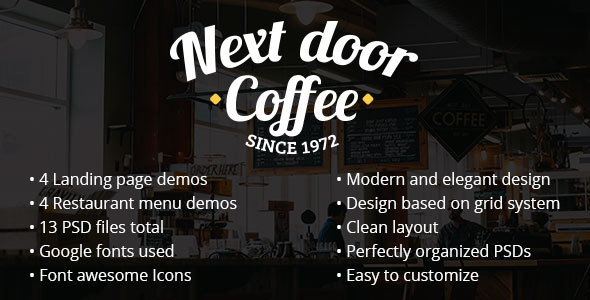 Next door Coffee – PSD Template for coffee shop, bar, restaurant
