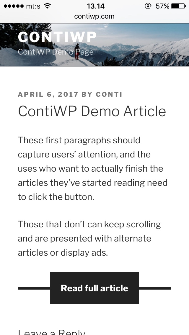 cecafe96a0f39a ContiWP - WordPress Truncate Mobile Articles Plugin by aaamedia ...