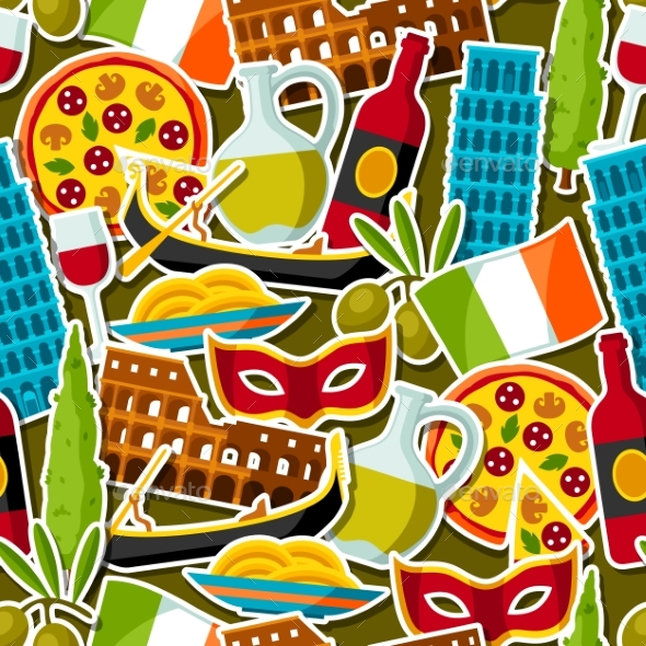 Italy Seamless Pattern. Italian Sticker Symbols - Travel Conceptual