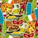 Italy Seamless Pattern. Italian Sticker Symbols - GraphicRiver Item for Sale