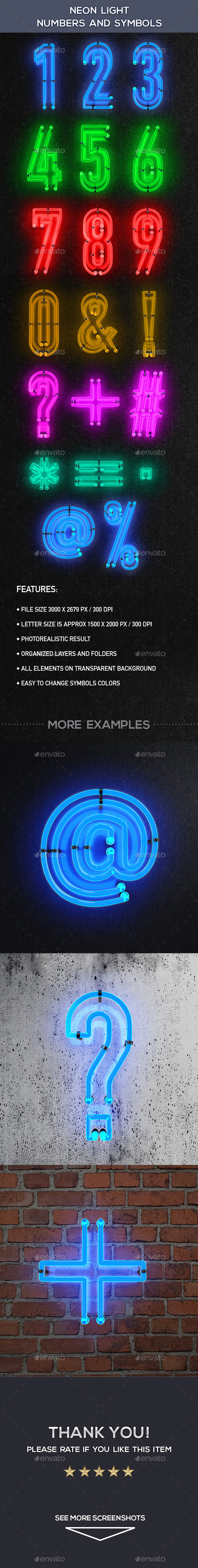 Neon Light Numbers And Symbols - Decorative Symbols Decorative