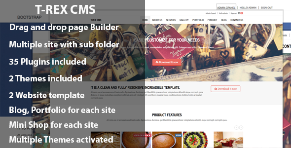 T-rex CMS: Drag And Drop Build Site v1.5.4 - CodeCanyon Item for Sale