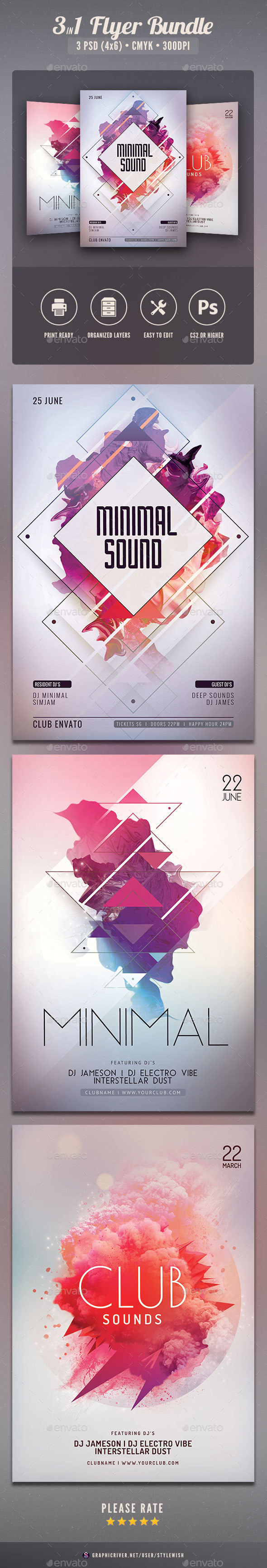 Minimal Flyer Bundle - Clubs & Parties Events