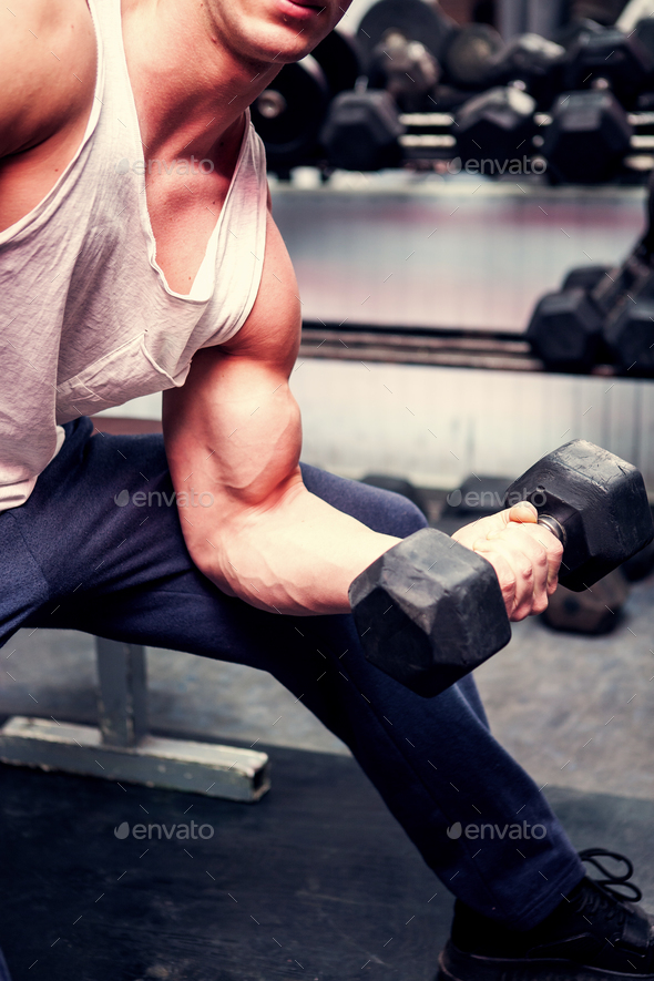 Lifting Heavy Weights In The Gym - Stock Photo - Images