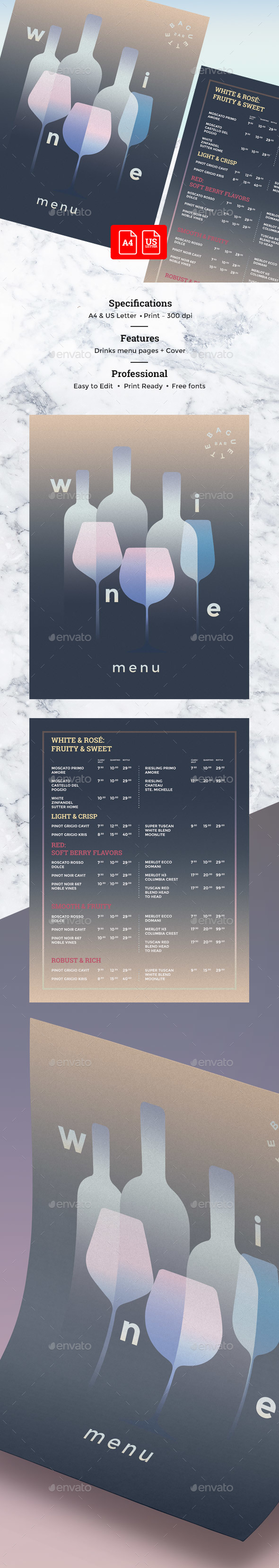 Wine Menu - Food Menus Print Templates