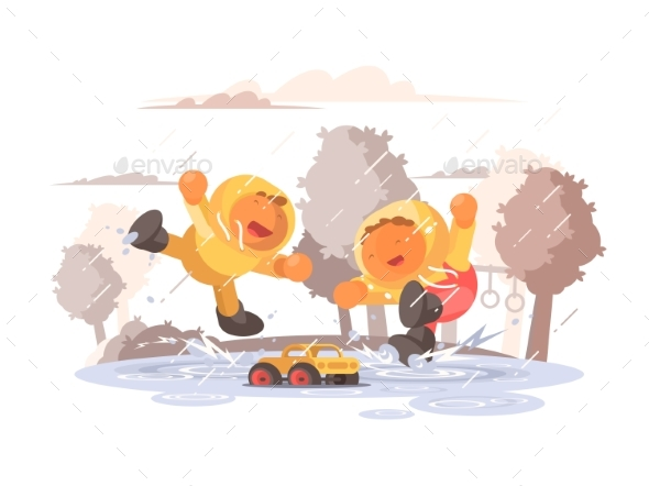 Happy Children Jumping in Puddle - People Characters