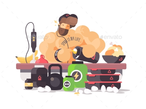 Bodybuilder Athlete Prepares Protein Cocktail - People Characters