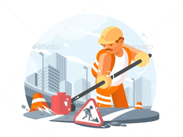 Road Service Worker - People Characters