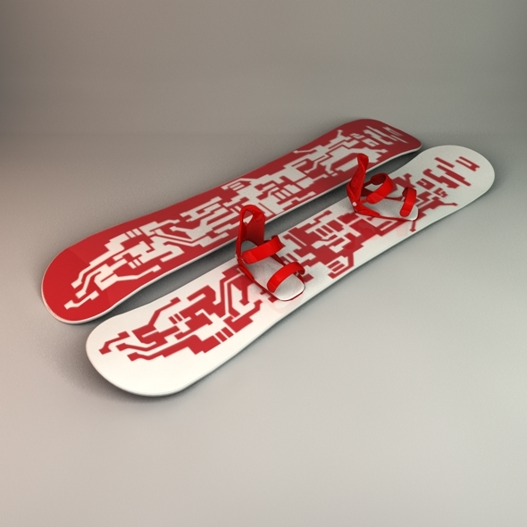 Snowboard & Bindings - 3DOcean Item for Sale