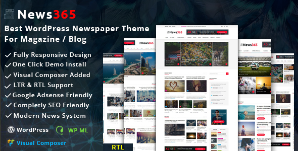 News365 – WordPress Newspaper Theme for Magazine / Blog