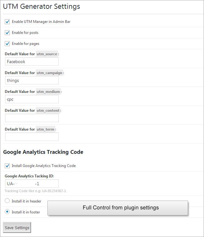 UTM Code Generator for Google Analytics Tracking URL Wordpress Plugin