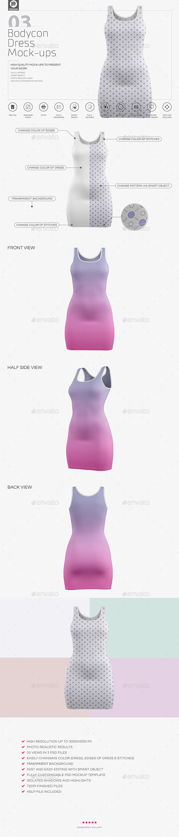 Bodycon Dress Mockups - Miscellaneous Apparel