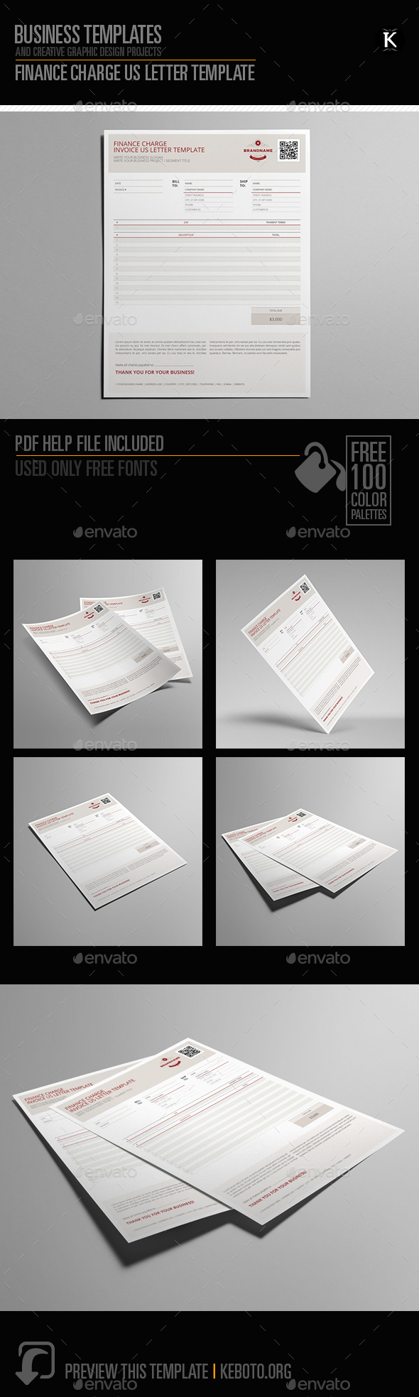 Finance Charge US Letter Template - Miscellaneous Print Templates