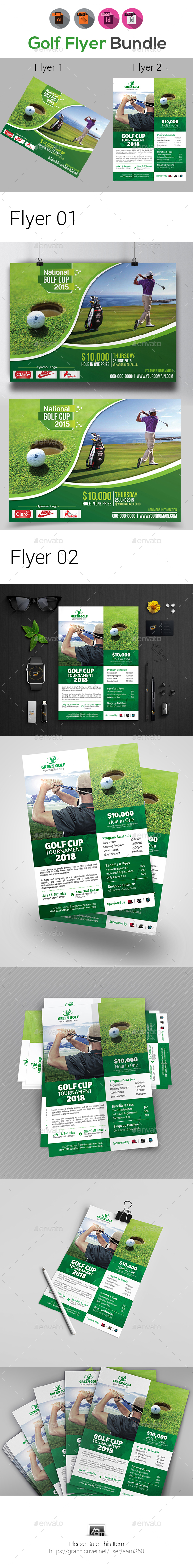 Golf Flyers Bundle Template - Events Flyers