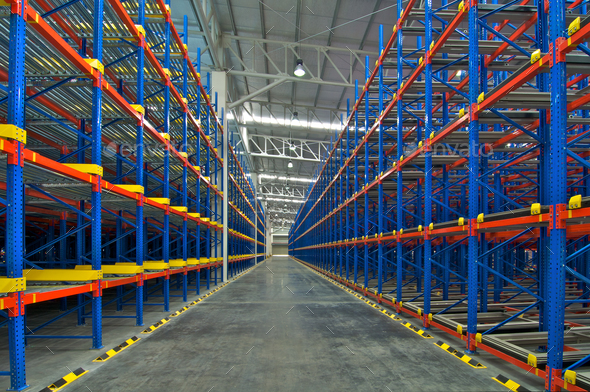 Warehouse  shelving storage metal pallet racking system - Stock Photo - Images