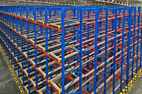 Warehouse storage inside shelving metal pallets  - Stock Photo - Images