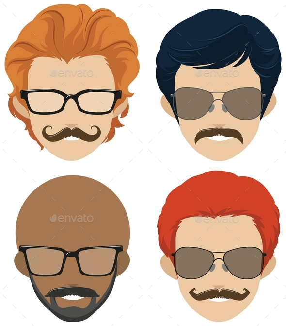 Mustach Styles and Glasses for Men - People Characters