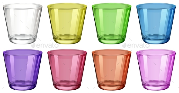 Set of Glasses in Different Colors - Man-made Objects Objects