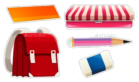 Sticker Set with School Materials - Man-made Objects Objects